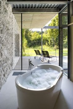 CJWHO ™ (Jodlowa House, a Stunning Glass House in Krakow by...) #tub #bath #white #room #design #interiors #photography #luxury