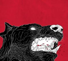 """Dangerous"" by Felipe Hort #red #black #illustration #art #dog"