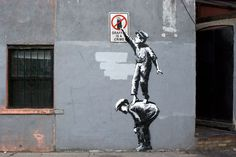 Image of Banksy #graffiti #chinatown #banksy #stencil #crime #art #street #york #new