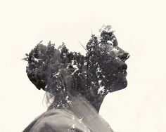 multiple exposure nature portraits by christoffer relander 01 #face #nature