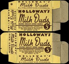 Milk Duds #milk #script #packaging #vintage #duds