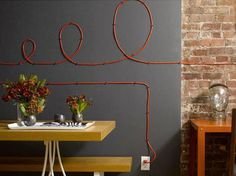5_ways to hide choards coards cool inspiration #interior #lamp #red #electricity #wire #pins