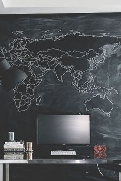Chalk board, Chalkboard, chalk, board, black, work space, workspace, work, space, workstation, station, monitor, desk