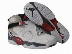 female nike jordan shoes retro 8 white black red #fashion
