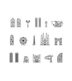 Iconic Barcelona - Rafa Goicoechea #vector #line #icon #illustration #barcelona