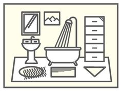 Dribbble - Bathroom by Ryan Hubbard #vector #line #bathroom #illustration #work