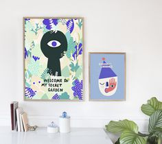 #nordic #design #graphic #illustration #danish #bright #simple #nordicliving #living #interior #kids #room #poster #spy #blue #head