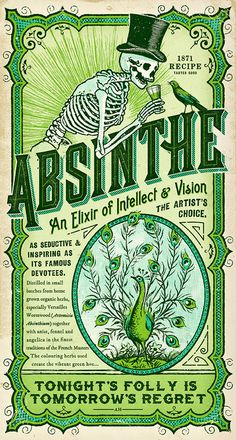 absinthe, label, skeleton, skull, bird, blackbird, green, elixir