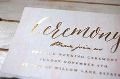 gold invitation #invitation #torn #blush #gold #watercolor #paper #foil