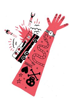 Benoit Tardif / theatre de la licorne / colagene.com #death #hand #snake #illustration #accident #pen #watch #naive #arm