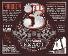 Schooner Exact Brewing Co. 3 Grid IPA Label #packaging #beer #label #bottle