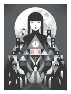 MS MR Poster Cityscape with woman in red lipstick rising above #poster
