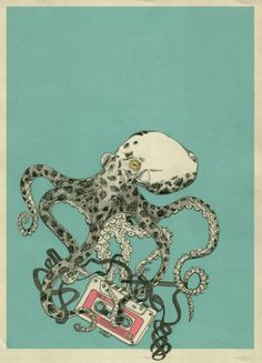 SBR001 Art Print by 555 | Society6 #tape #print #octopus #shirt #audio #kraken