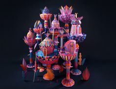 Zim and Zou paper craft for Hermes window display in Dubai. #colours #form #craft #papercraft #3D