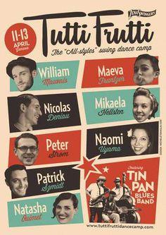 #poster #vintage #retro #lindyhop #swing #tuttifrutti #micheletenaglia