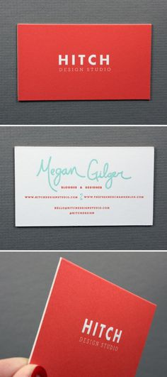 Hitch Design Studio / Megan Gilgerwww.hitchdesignstudio.com {love orange #business card