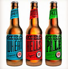 Camden Town Brewery - Something subtly British about these labels whilst remaining true to the wave of American craft brewery aesthetic. Rea #beer #labels #branding #packaging #design #graphic #color #type