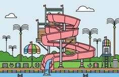 Water Park #water #retro #park #pool #illustration #summer #slide