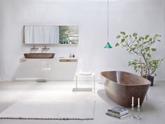 Delicate bath supplies made from aromatic walnut - www.homeworlddesign. com (1) #furniture #walnut #bathroom
