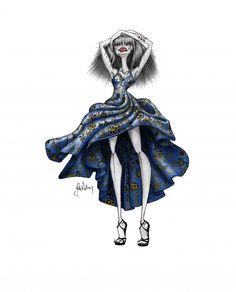blue dress model girl sketch