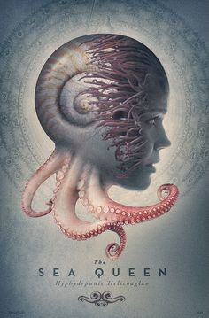 The Sea Queen Poster by David Irlanda davidirlanda.com #ocean #profile #aquatic #design #key #poster #composite #irlanda #face #movie #david #animal #queen #woman #graphic #octopus #photoshop #sea #silhouette #art #compositing