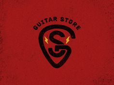 DELO | Design Studio #guitar #red #sign #design #emblem #store #logo