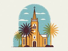 Stmartini #church #illustration #palm #trees