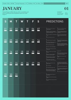 Predictions : Tim Wan : Graphic Design #calendar #typography