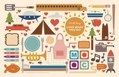 LoveWhatYouDo_Cover #flat #colour #icons