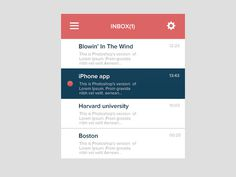Flat Mail Widget Inbox #ux #interface #ui