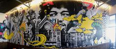 Mellow Mushroom large mural #mellow mushroom #mural #wheat paste #jimi hendrix #pete rose #cincinnati #art