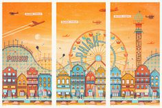 phish_atlantic_city_triptych #illustration #vintage