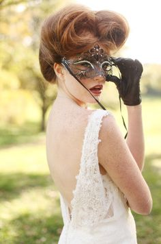 More Design Please MoreDesignPlease Hocus PocusWedding #wedding #masquerade #redhead #lace #freckles