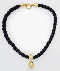 Diamond pendant with cord chain