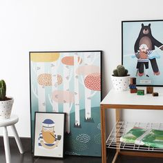 #nordic #design #graphic #illustration #danish #bright #simple #nordicliving #living #interior #kids #room #poster #forest #trees