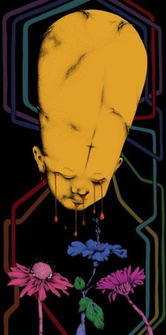 Dark & Obscure Illustrations by Matthew Wade I Art Sponge #blood #yellow #child #cry #illustration #matthew #wade #dark