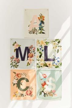 Slide View: 1: Monogram Floral Flag Tapestry