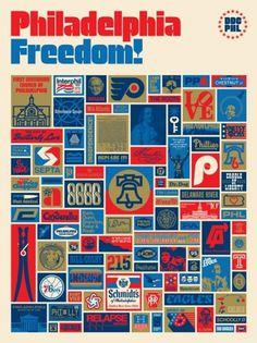 INSIDE THE ROCK POSTER FRAME: Aaron Draplin's Philadelphia Freedom Print on sale details