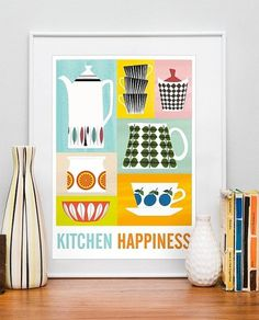 Art for kitchen Mid century poster kitchen art Stig by handz #print #psoter #art #illustration #scandinavian #ha