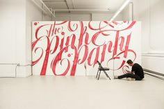Typographic Mural – The Pink Party