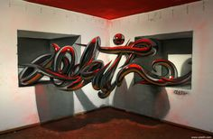 Odeith anamorphic chrome tubes lettering standing 2 holes top red light #graffiti #anamorphic #odeith