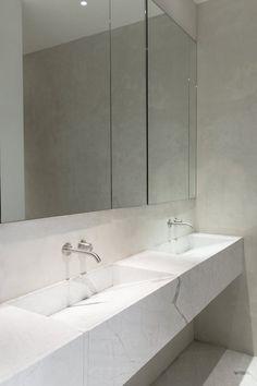 Double marble trough sink. Loft in Manhattan by Dieter Vander Velpen Architects. © Tineke De Vos. #bathroomsink