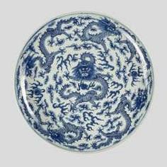 A large underglaze-blue decorated 'Nine dragons'-porcelain plate #Sets #Teasets #Porcelainsets #Antiqueplates #Plates #Wallplates #Figures #Porcelainfigurines #porcelain