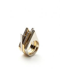 Set Of 4 Geometric Shape Stackable Rings by Noir Jewelry brought to you by Gilt