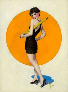 Pin-up Art - The Lucas Museum of Narrative Art :: Coy Woman in Black Holding Parasol (c.1928) Enoch Bolles