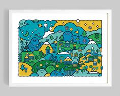 Onesidezero Blog #white #print #yellow #home #onesidezero #art #blue #giclee #mountains #green