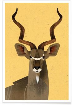 Kudu Illustration by Dieter Braun #illustration #animal #geometric #minimal #icon #iconic #kudu #deer #stag