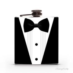 James Bond 007 Black Tuxedo and Bowtie Groomsmen Gift/ Best Man/ Wedding/ Black Tie Dinner 6oz Whiskey Vodka Gin Hip Flask #mens #flask #bond #james #tuxedo #weddings