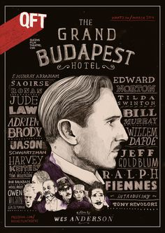 The Grand Budapest Hotel / QFT - Peter Strain #budapest #grand #fiennes #wes #design #anderson #ralph #illustration #poster #film #hotel