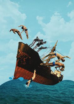 Abandon Ship! #modern #surrealism #vintage #art #collage